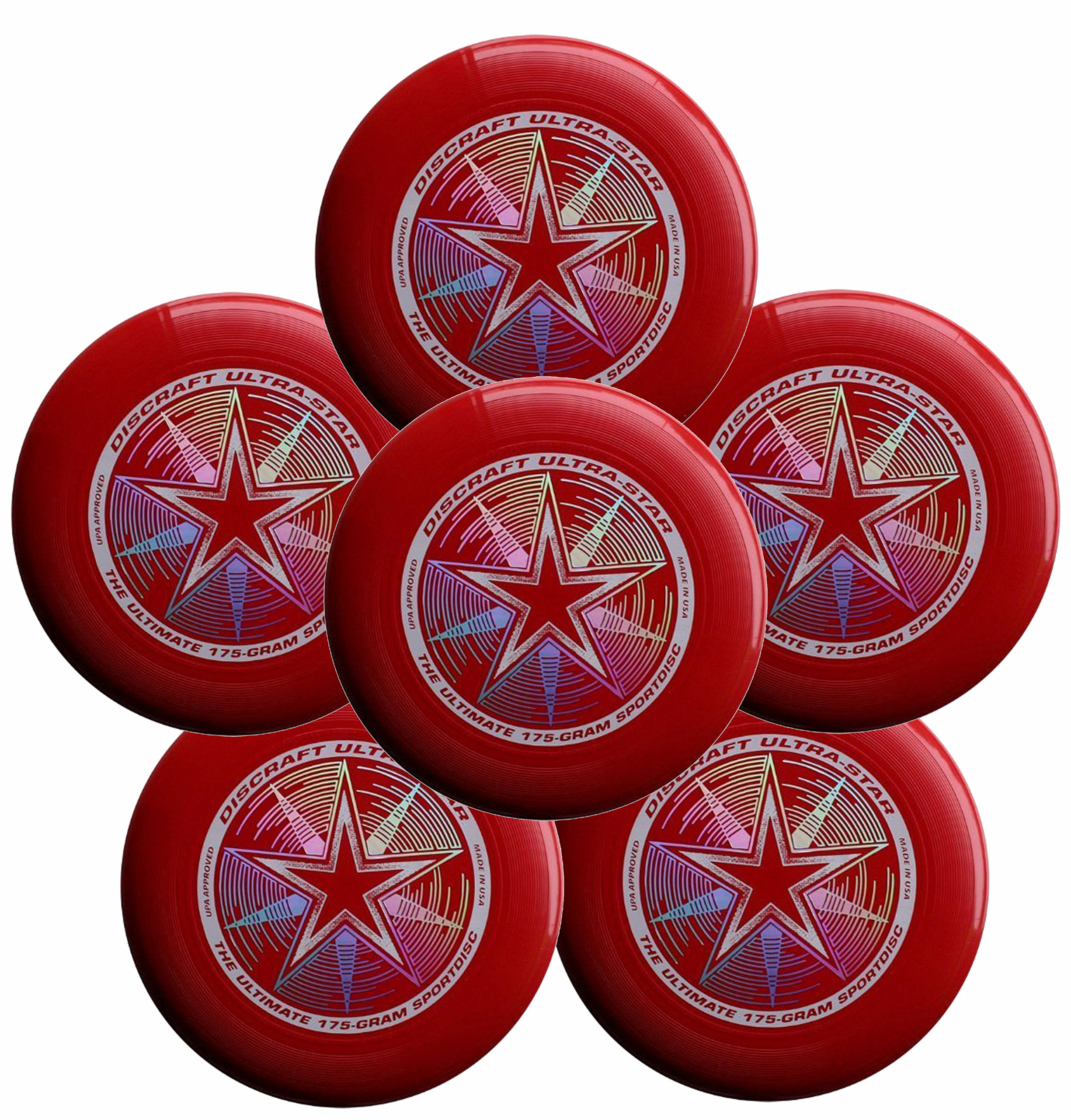 Discraft Ultra-Star 175g Ultimate Frisbee Sport Disc (6 Pack) Dark Red by Discraft