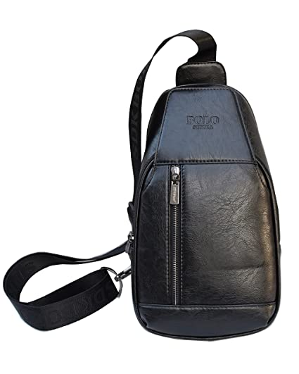 Sling Backpack Mens Crossbody Shoulder Backpacks Sling Chest Bag Pack  Travel Anti Theft Black Leather PU ed2d6e4027998
