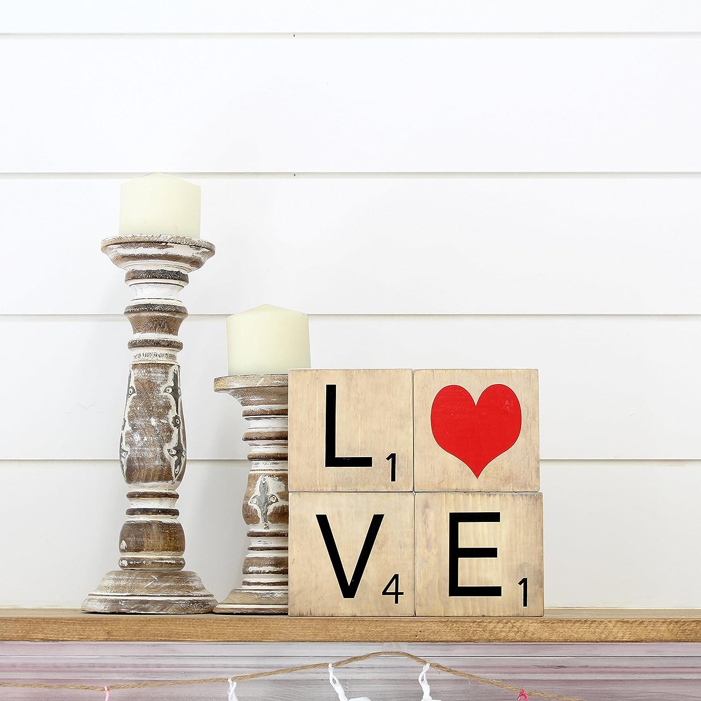 Madera creaciones – San Valentín Amor Palabra Vinilo Scrabble letras – sin terminar Craft madera – DIY proyectos de manualidades – San Valentín Decoración – decoración para el hogar – Love palabra
