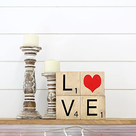 Madera creaciones – San Valentín Amor Palabra Vinilo Scrabble letras – sin terminar Craft madera – DIY proyectos de