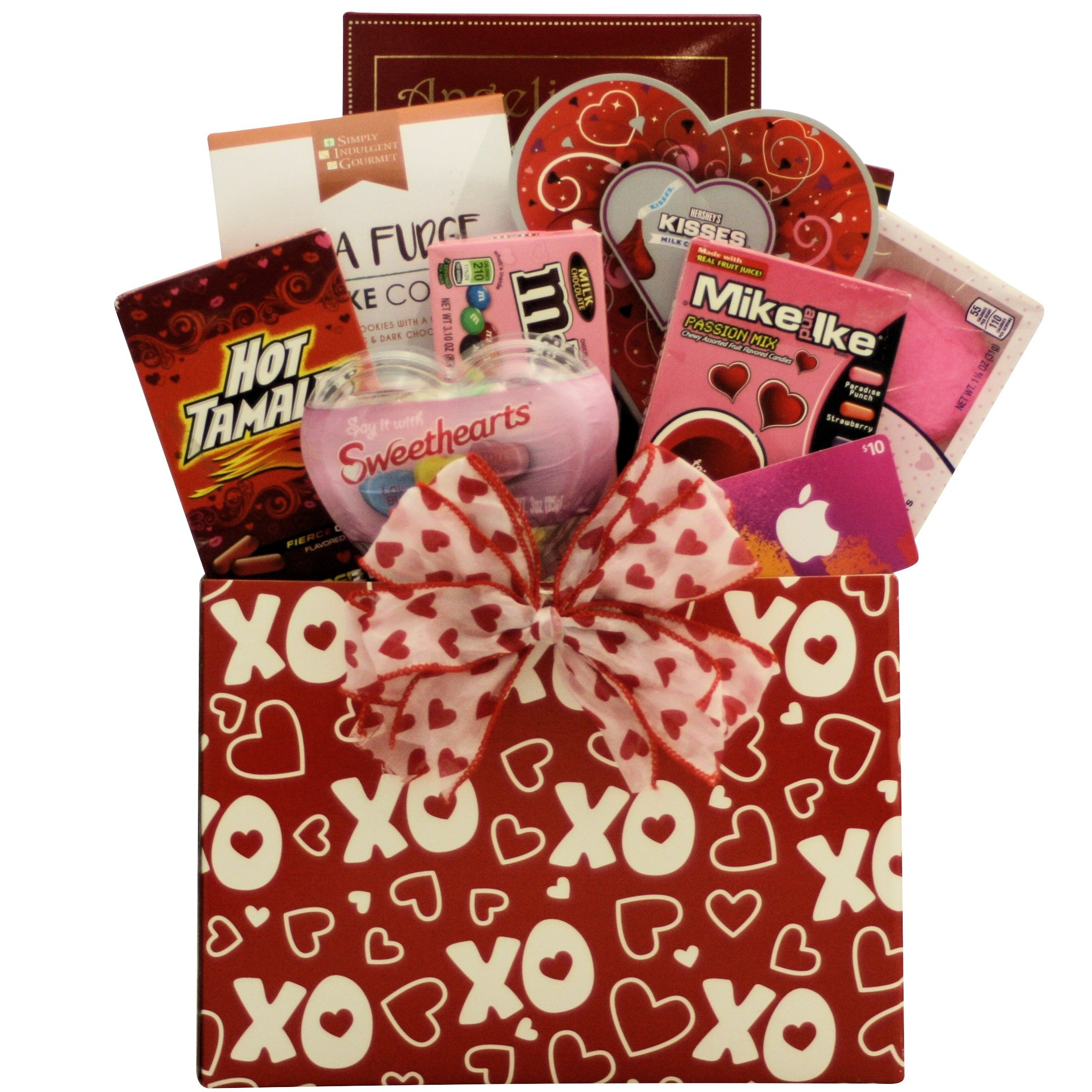CDM product GreatArrivals Gift Baskets Valentine's Day Gift Basket for Tweens and Teens, Hugs and Kisses with iTunes Gift Card, Red and White, 64 Oz small thumbnail image