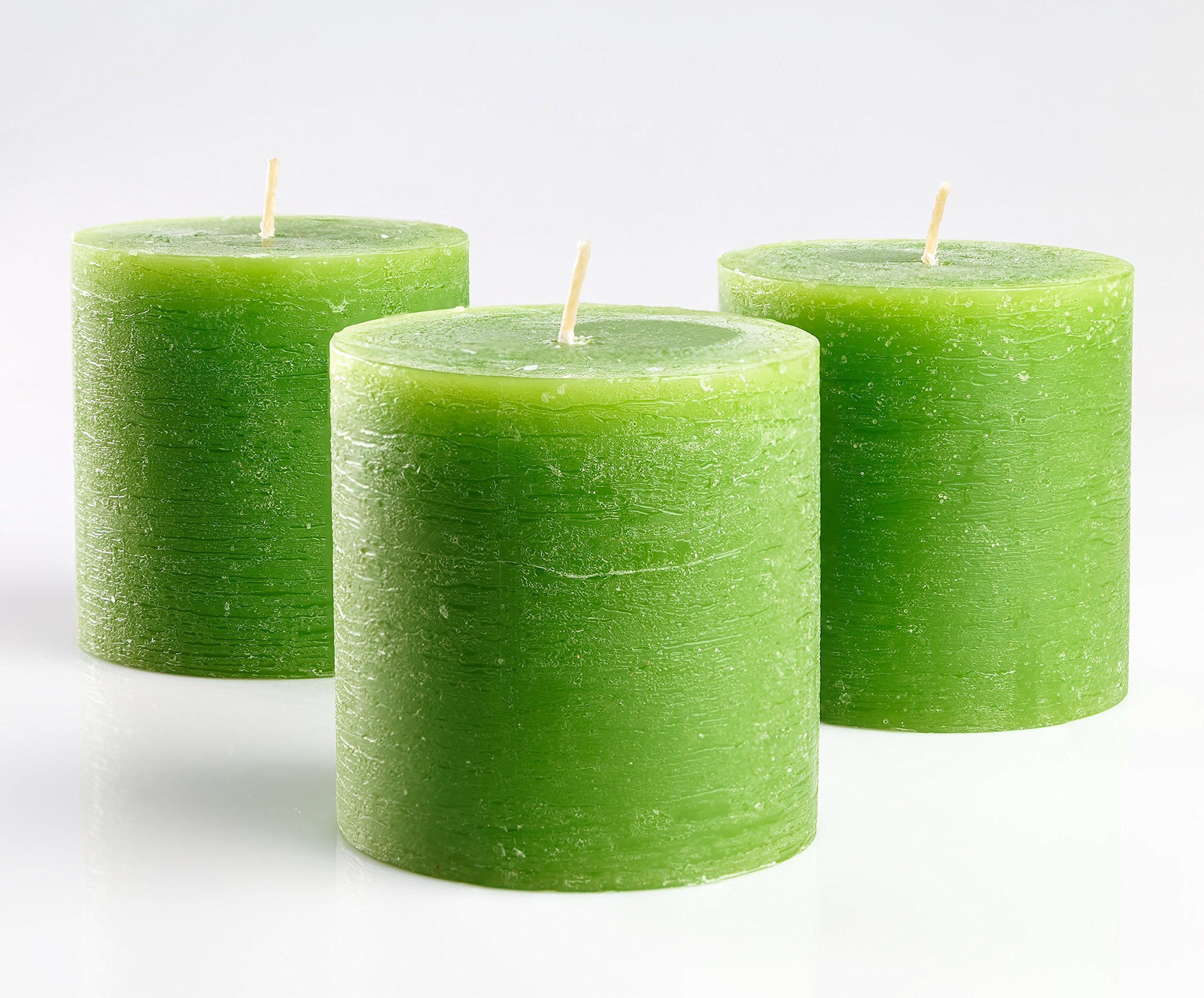 Melt Candle Company Set of 3 Green Pillar Candles 3'' x 3'' Unscented Handpoured Weddings, Home Decoration, Restaurants, Spa, Church Smokeless Cotton Wick by Melt Candle Company (Image #1)