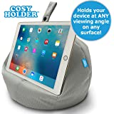 COSY HOLDER® - Pumpkin Beanbag Cushion - Tablet & E-Reader (e-book) holder/stand. Ideal for iPad, Samsung Galaxy, Kindle & Books. Holds your device at ANY viewing angle. Ideal for home or travel (Grey)