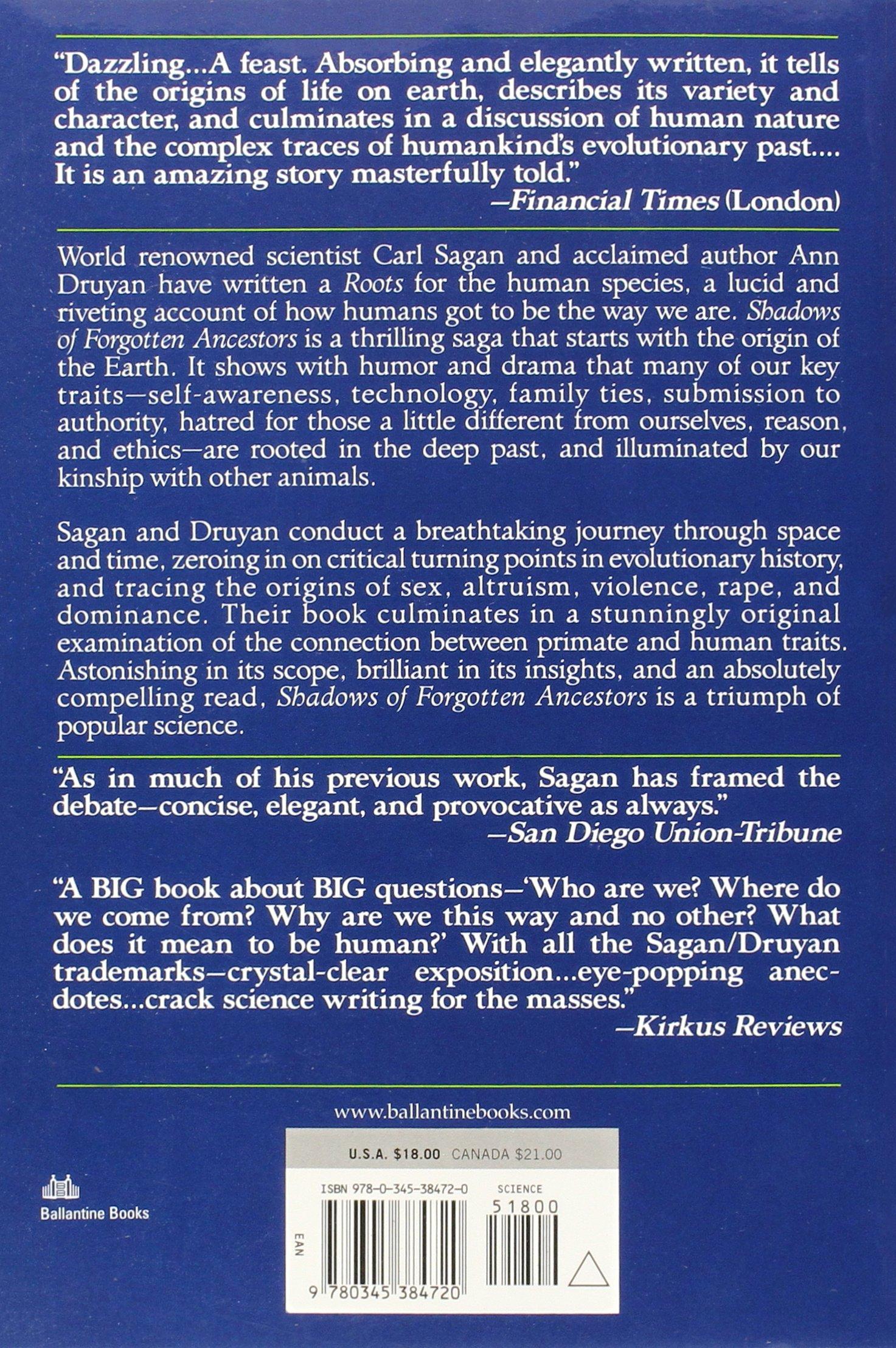 Shadows Of Forgotten Ancestors: Carl Sagan, Ann Druyan: 9780345384720:  Amazon: Books