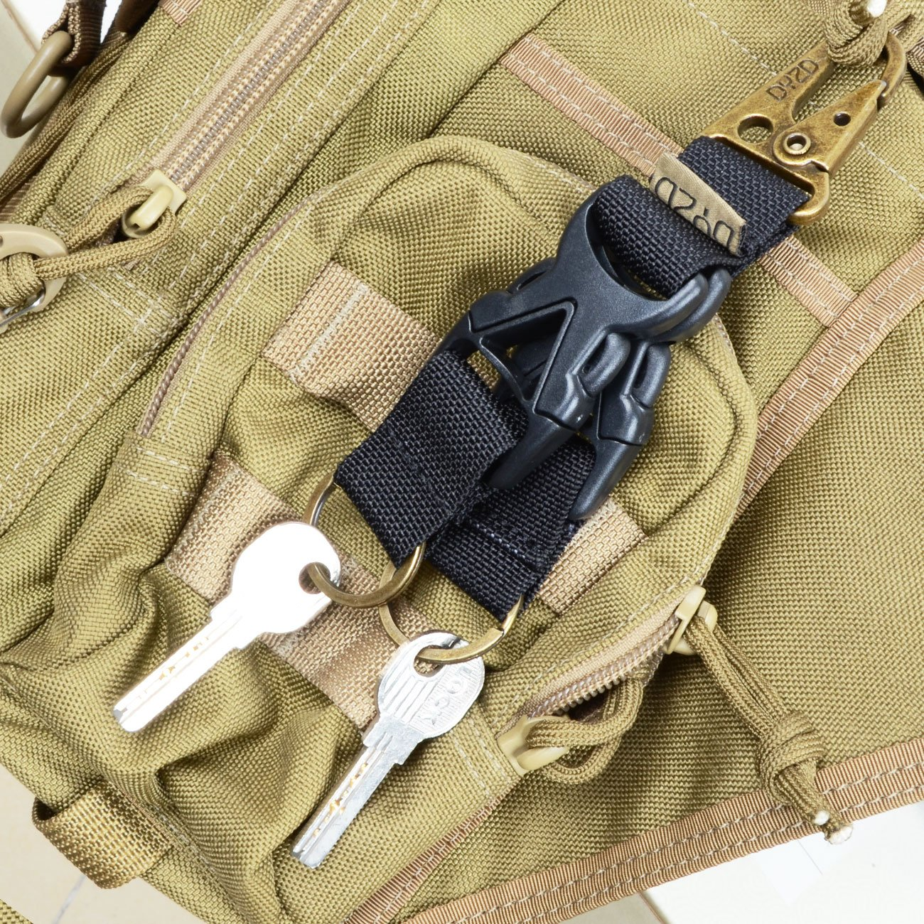 DYZD Tactical Gear Keychain Carabiner Survival 100/% Nylon Webbing Key Chain Tactical Key Holder Quick Release Buckle with Key Ring