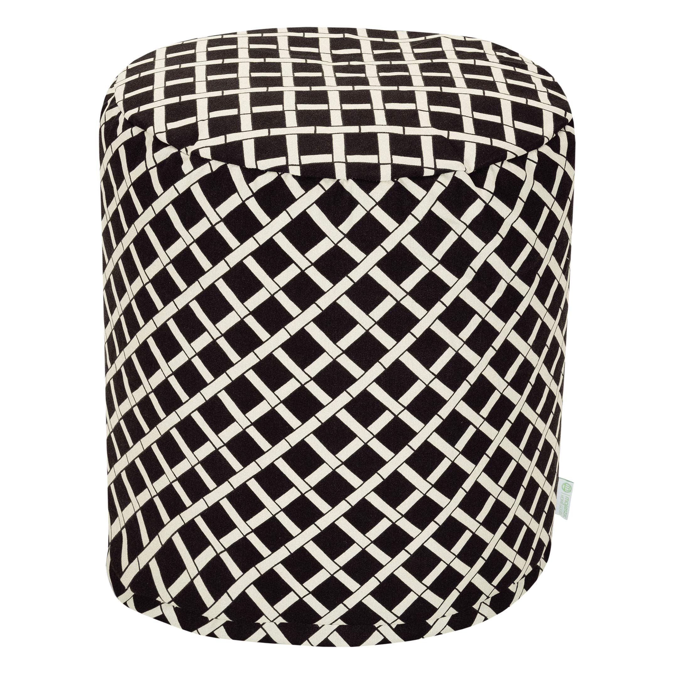 Majestic Home Goods Black Bamboo Indoor/Outdoor Bean Bag Ottoman Pouf 16'' L x 16'' W x 17'' H
