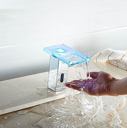 Aquafaucet LED Sensor Automatic Touchless Waterfall Bathroom Faucet Glass  Spout Vessel Sink Mixer Tap Lavatory Chrome