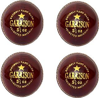 CW Lot de 4Garrison Cuir Rouge Sports pour homme Taille Club d'école à balle de cricket complète cousu à la main 4pièces découpé en (155,9gram) 9gram) Cricket World