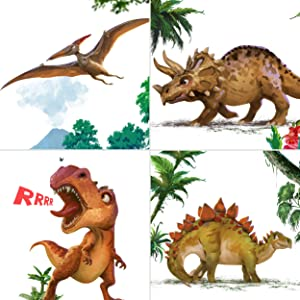 Dinosaur Wall Décor for Boys Girls Room, Glow in The Dark Posters for Toddlers - Light Art Prints Without Frames , Gift for Birthday , Christmas