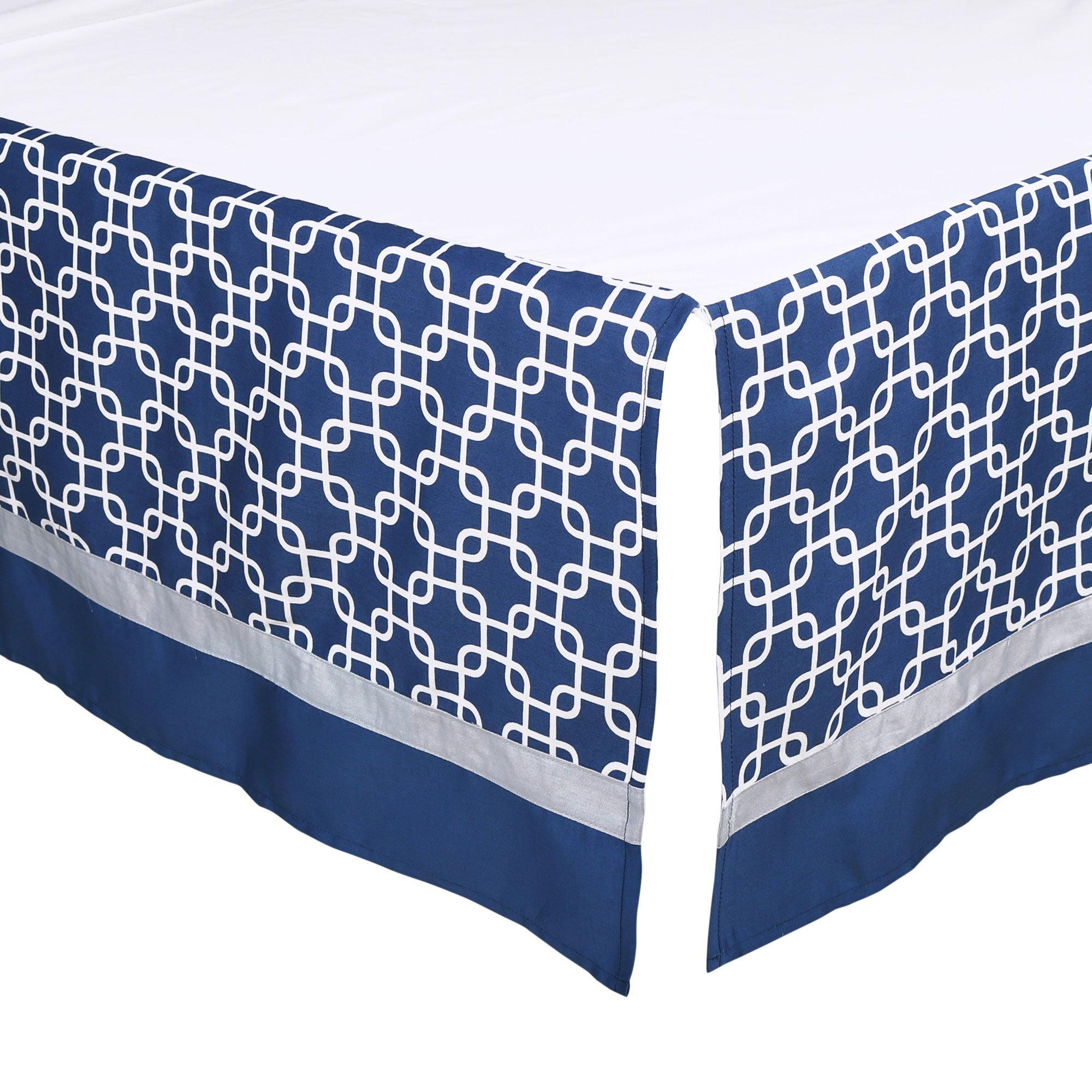 Navy Blue Geometric Print Tailored Crib Dust Ruffle by The Peanut Shell
