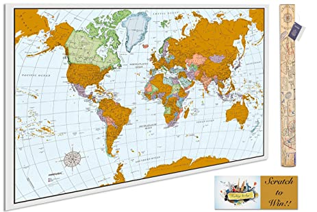 Amazon scratchable poster map a scratch off world map that scratchable poster map a scratch off world map that tracks your travels vibrant colors publicscrutiny Image collections
