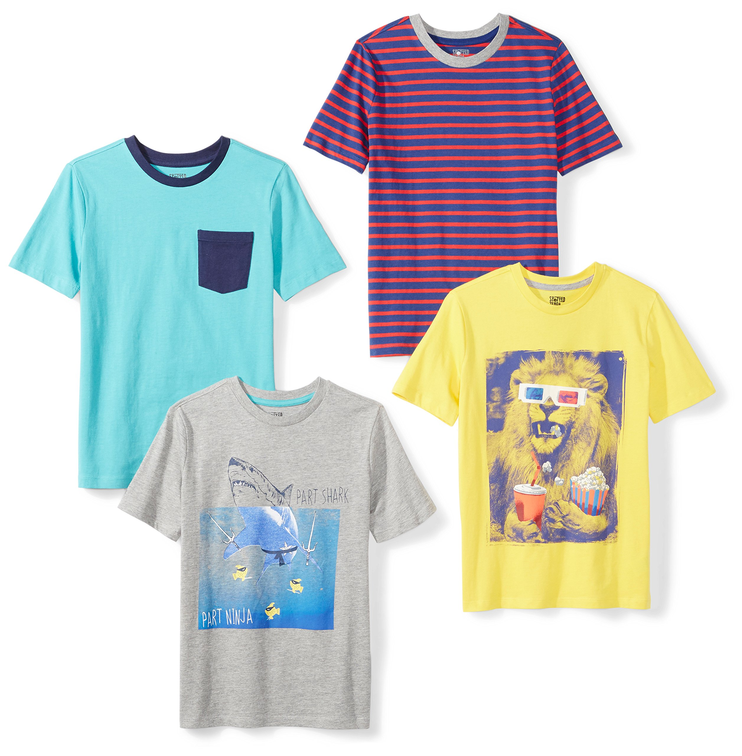Spotted Zebra Boys' Little 4-Pack Short-Sleeve T-Shirts, Photoreal, Small (6-7)