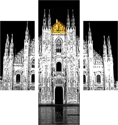 Milan Cathedral Canvas Black White  Landscape Wall Art Picture Home Decor