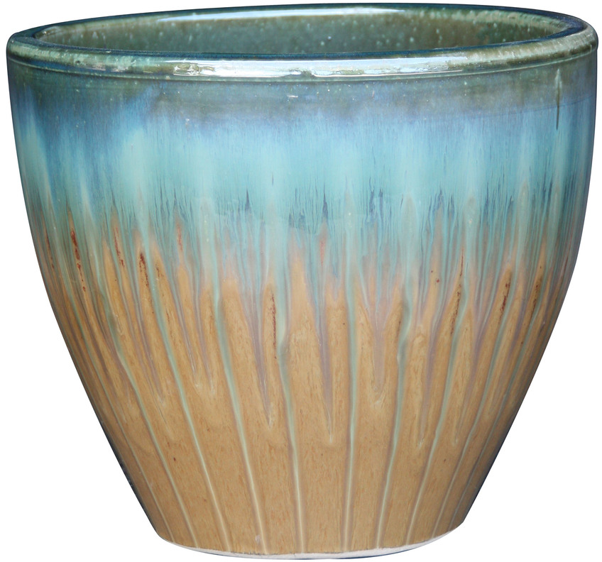 Shop Garden Treasures 15.1-in x 15.2-in Tan/Blue Ceramic Planter at Lowes.com