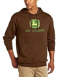 John Deere Mens Trademark Logo Core Hood Pullover Fleece