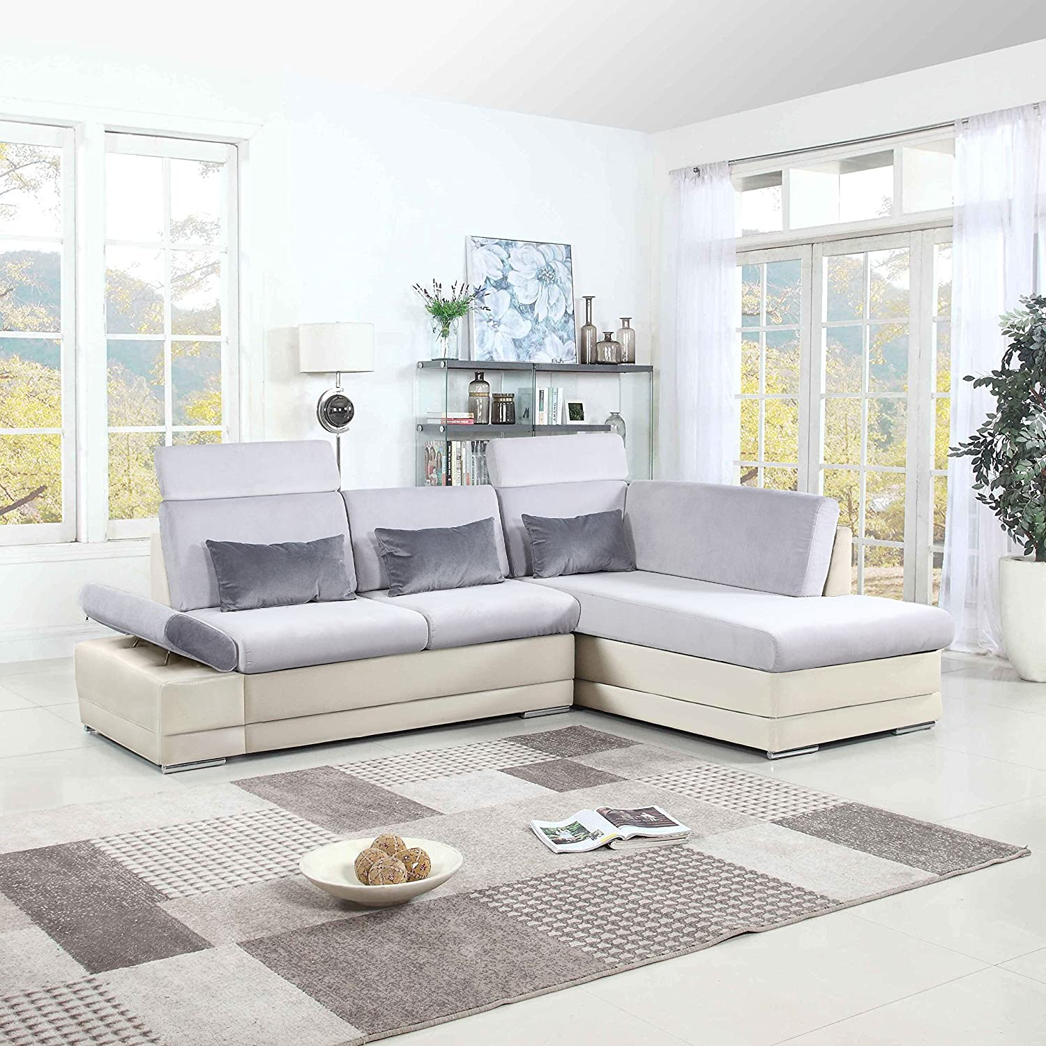 Amazon com classic large faux leather and microfiber l shape sectional sofa couch with chaise lounge and adjustable headrest white light grey kitchen