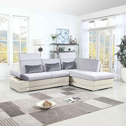 Enjoyable Classic Large Faux Leather And Microfiber L Shape Sectional Sofa Couch With Chaise Lounge And Adjustable Headrest White Light Grey Ibusinesslaw Wood Chair Design Ideas Ibusinesslaworg