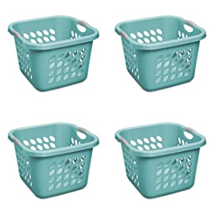 STERILITE 1.5 Bushel/53 L Ultra Square Laundry Basket, Teal Splash,(Case of 4)