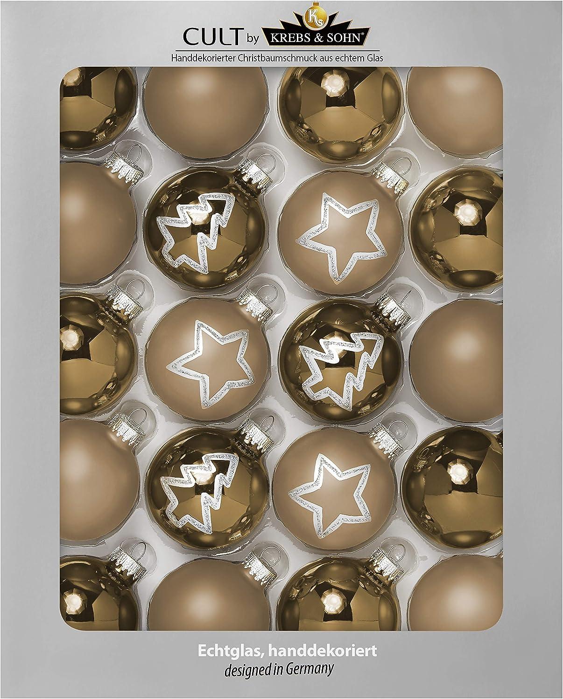 Christbaumschmuck Christbaumkugeln Weihnachtsdeko Silber Lila KREBS /& SOHN 12er Set Weihnachtskugeln aus Glas Wei/ß