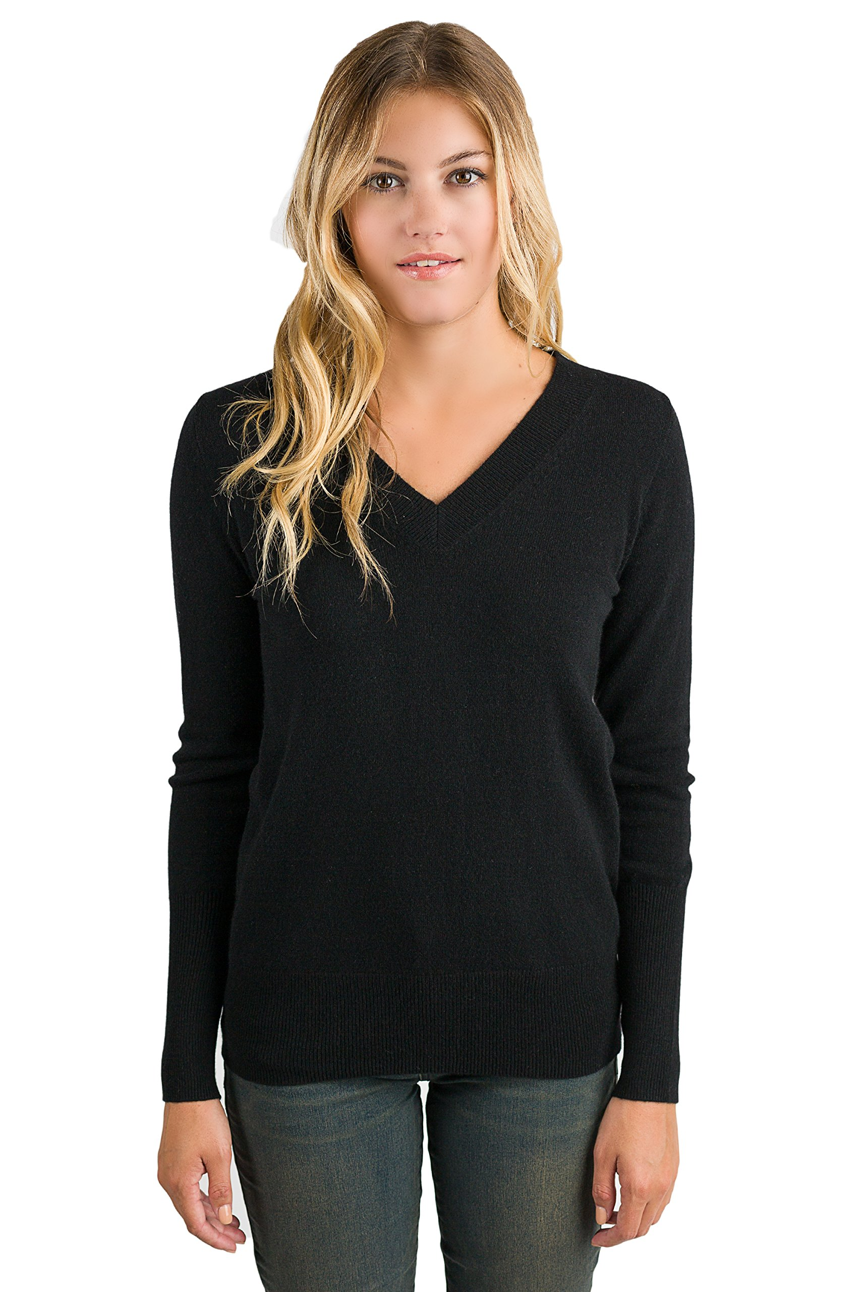 JENNIE LIU Women's 100% Pure Cashmere Long Sleeve Ava V Neck Pullover Sweater (PM, Black) by JENNIE LIU