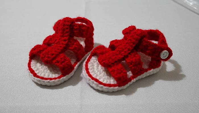 Amazoncom Crochet Baby Girl Or Boy Shoe Booties Sandals For 6 12