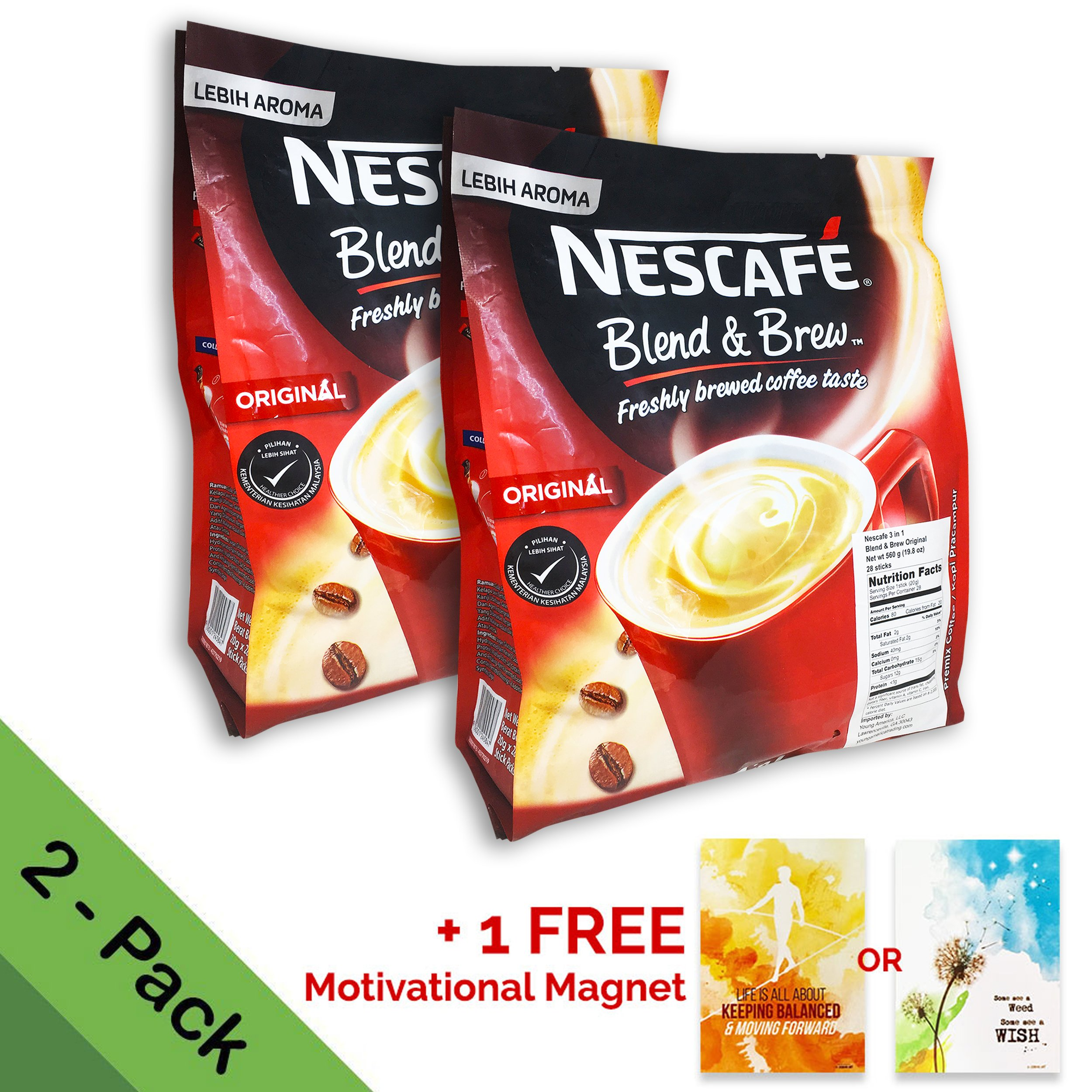 2-PACK Nescafe 3 in 1 Instant Coffee Sticks ORIGINAL - Best Asian Coffee Imported from Nestle Malaysia (56 Sticks total) by Nescafé