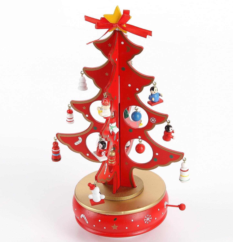Amazoncom Lancerpac Rotating Music Box Wooden Tabletop Christmas Tree Miniature