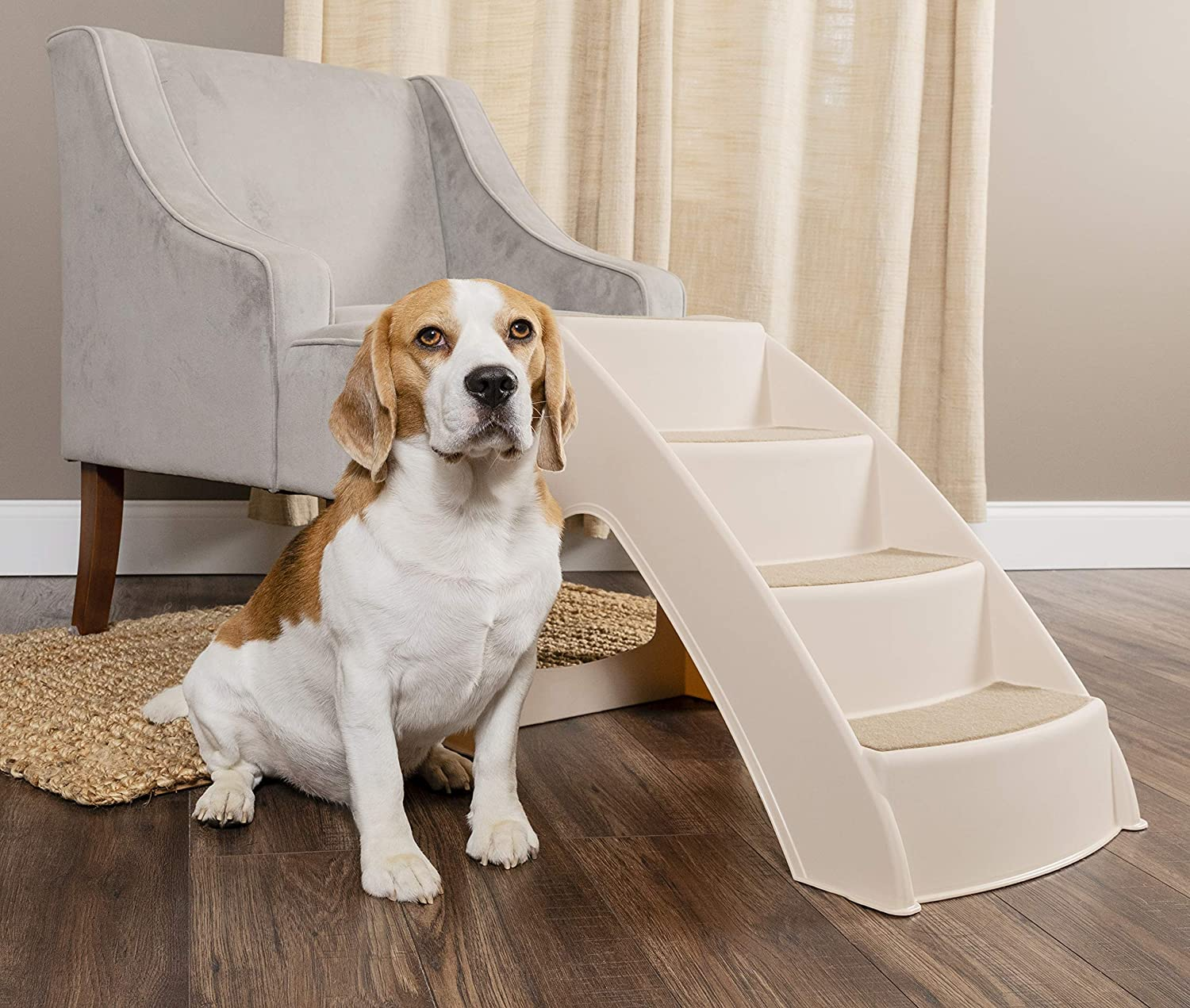 PetSafe CozyUp Pet Steps - PupSTEP Dog and Cat Stairs - Lightweight Durable Plastic Frame Supports up to 70 lb - Side Rails and Non-slip Feet Provide Added Security : Pet Supplies
