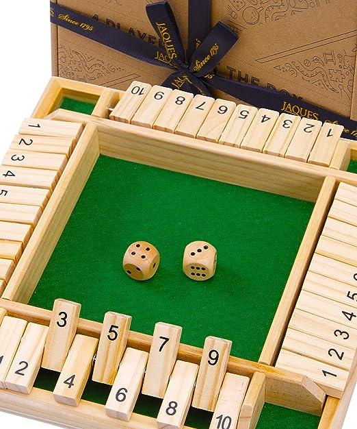 Jaques de Londres Juegos de Mesa Shut The Box - Juego Shut The Box para 4 Jugadores Juguetes de Madera Juegos de Dados - Juguetes educativos para 3 4 5 6 años