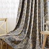 Room Darkening Curtains Grey Drapes - KoTing 1 Panel Elegant Grey Leaf Short Curtains Grommet Top Drapes for Bedroom 84 inch Long 42 84 2017 NEW