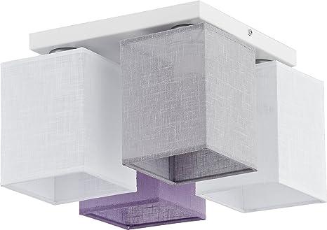 Deckenleuchte Weiß Grau Lila Schirm Eckig 4 Flammig Modern Stoff  Küchenlampe Esszimmer Bürolampe Decke Deckenleuchte