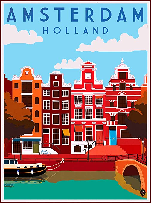 Holland Dutch Netherlands Vintage Travel Art Poster Advertisement Print