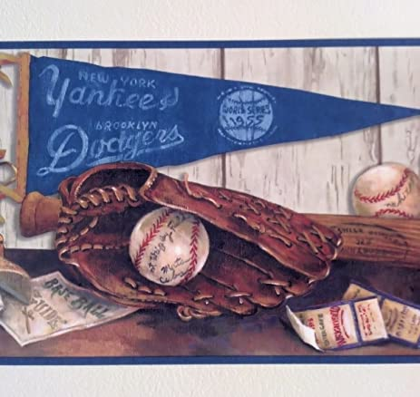 Blue Mountain Wallcoverings 5815120 Cooperstown Nostalgic Baseball Prepasted Wall Border