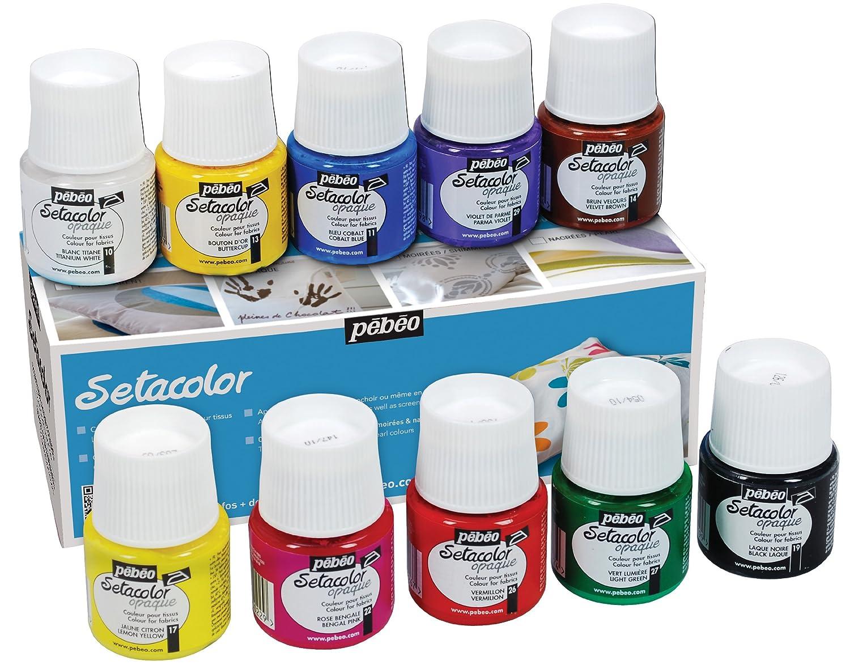 Pebeo Setacolor Opaque Fabric Paint Set, Cardboard Box of 10 Assorted 45-Milliliter Jars Pebeo Fabricant de Couleurs 294000