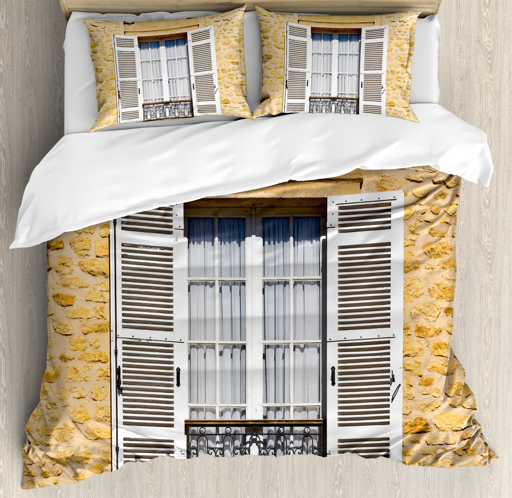 Country Duvet Cover Set Queen Size by Ambesonne, Traditional French Style Window Shutters in Bohemian European Style Antique Print, Decorative 3 Piece Bedding Set with 2 Pillow Shams, Ecru White