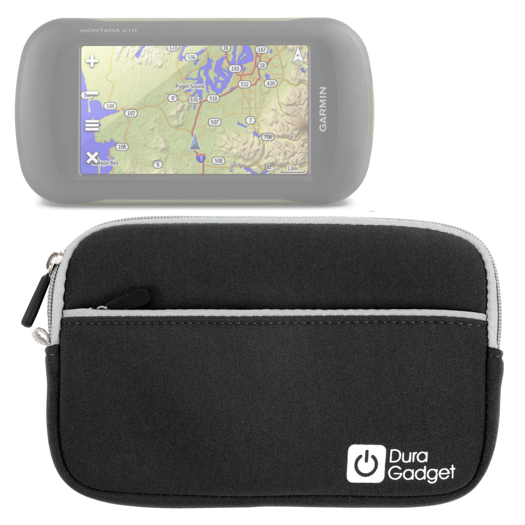 DURAGADGET Premium Quality Black 7'' Water-Resistant Neoprene Case - Compatible with New Garmin Montana 610, Montana 680 & Montana 680T (Geo, Navigation, GLONASS, 8MP, IPX7, MicroSD)