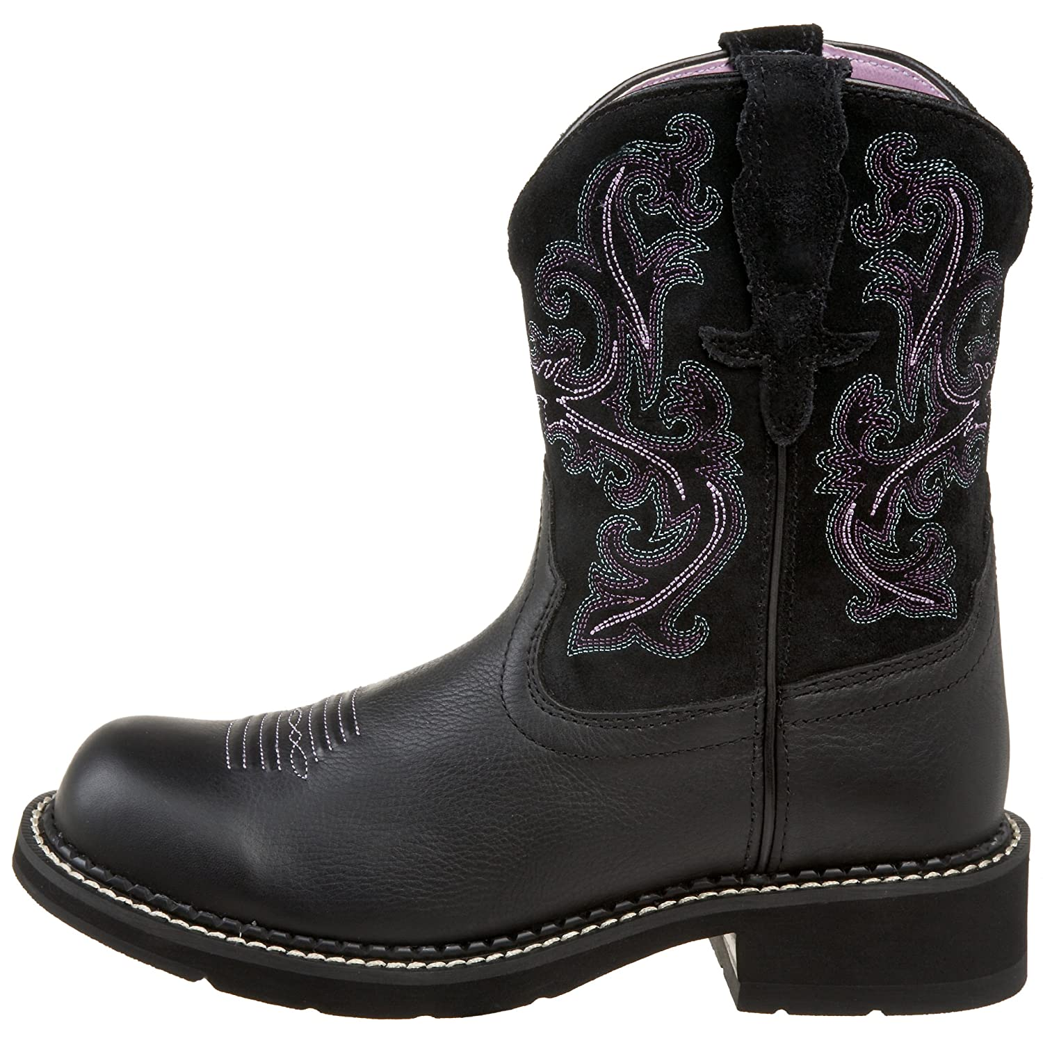 Ariat Women Women's Fatbaby Collection Western Cowboy Boot Deertan/Orchid B0028AE696 7.5 B(M) US|Black Deertan/Orchid Boot b6635e