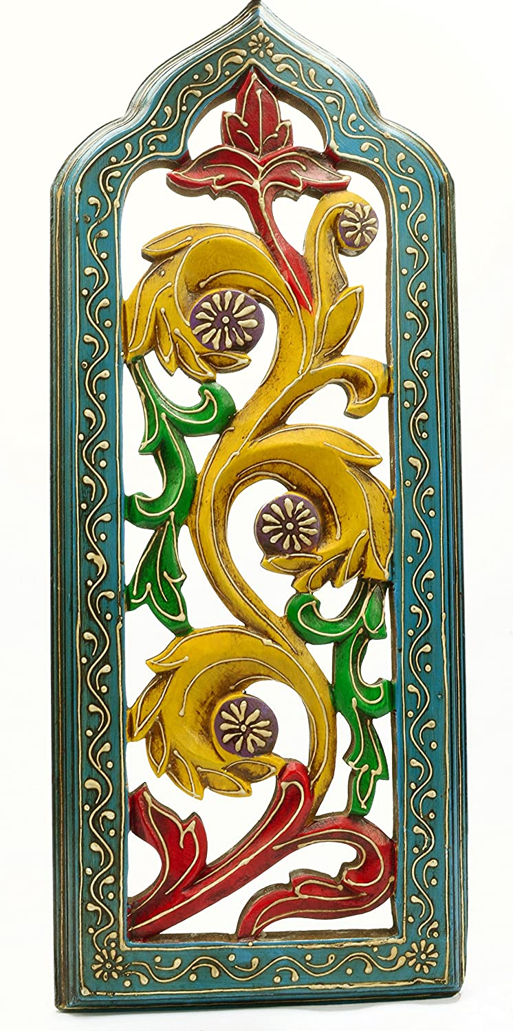 Amazon.com: Vintage Style Painted Indian Wood Carving Home Wall ...