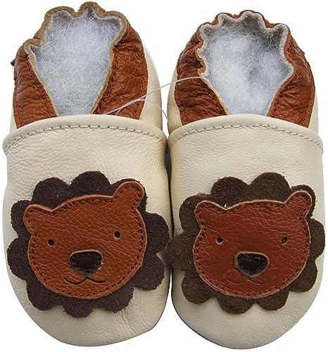 Carozoo Baby Boys  Lion Cream Soft Sole Leather Shoes 6-12m 0dfc12b88