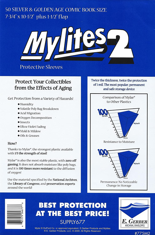 Mylites 4 Standard Comic Book Mylar Sleeves 7 1//4 x 10 1//2 Plus 1 1//2 Flap