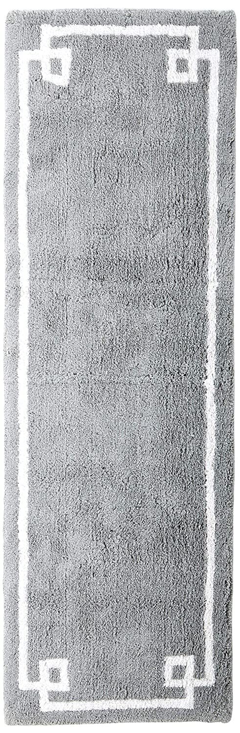 Madison Park Evan Cotton Tufted Washable Bath Mat, Luxury Solid Bathroom Rugs, 24X72, Grey