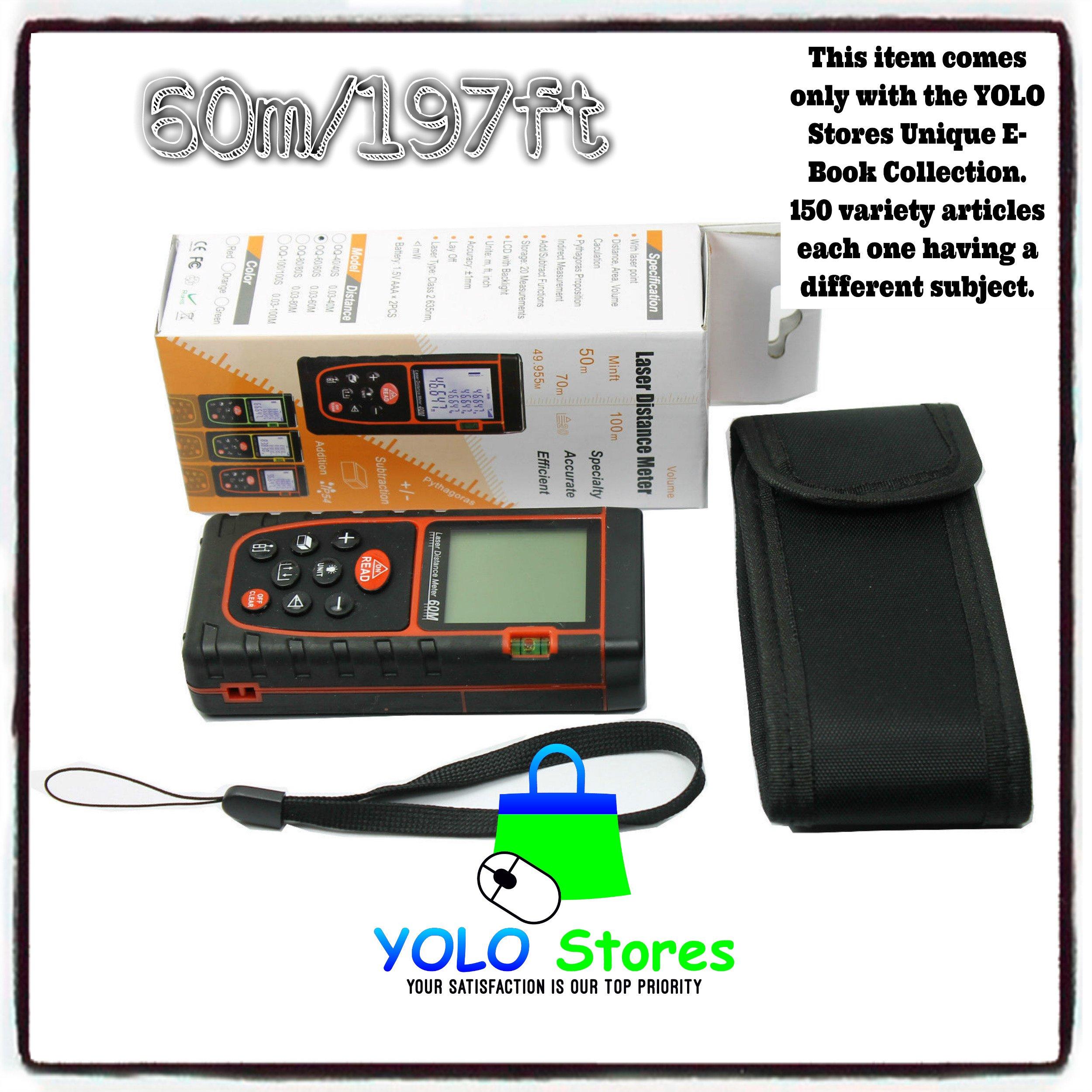 YOLO Stores Laser Rangefinder Digital Distance Finder Measure Meter Diastometer, LCD Display, 60m/197ft, Portable, e-Book Included By