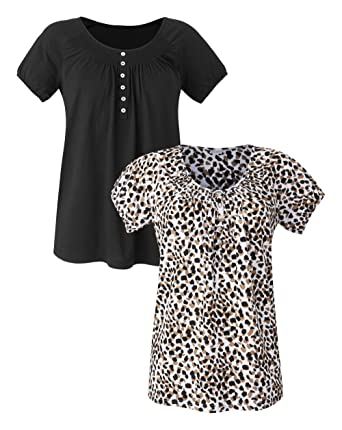 83fc1d4e69bb1 JD Williams Womens Pack of 2 Short Sleeve Gypsy Tops Animal/Black, 8/10:  Amazon.co.uk: Clothing