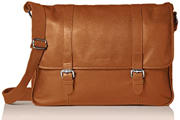 11cf79e5a59 Cole Haan Men's Pebble Leather Messenger, Tan, One Size: Amazon.in ...