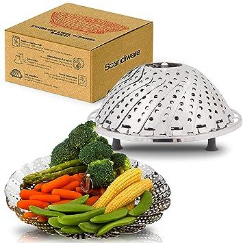 bunkeflow acero inoxidable vegetal Steamer Cesta con pies de silicona, diámetro 5,3 A 9,3 pulgadas: Amazon.es: Hogar