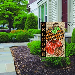 Lplpol Harlequin Pumpkin Garden Flag, Double Sided Yard Decoration, Front Door Home Decor, 28x40 inches