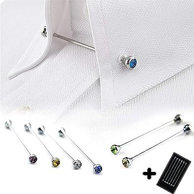 Geek-M Corbata Cuello Bar Pin Set para Hombres Rhinestone Moda ...