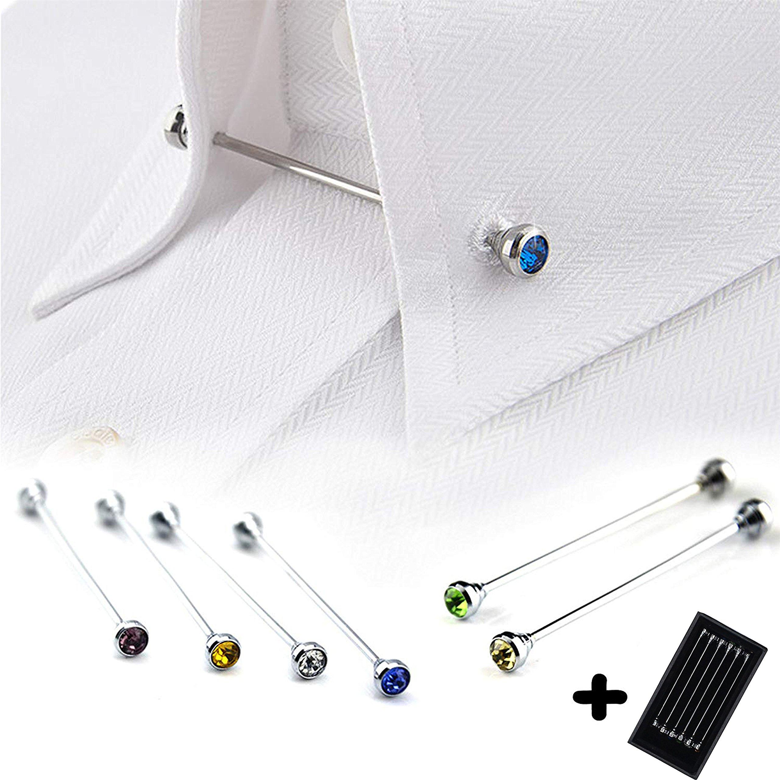 Tie Collar Bar Pin Set for Men Rhinestone Fashion Collar Clips 6 Pcs