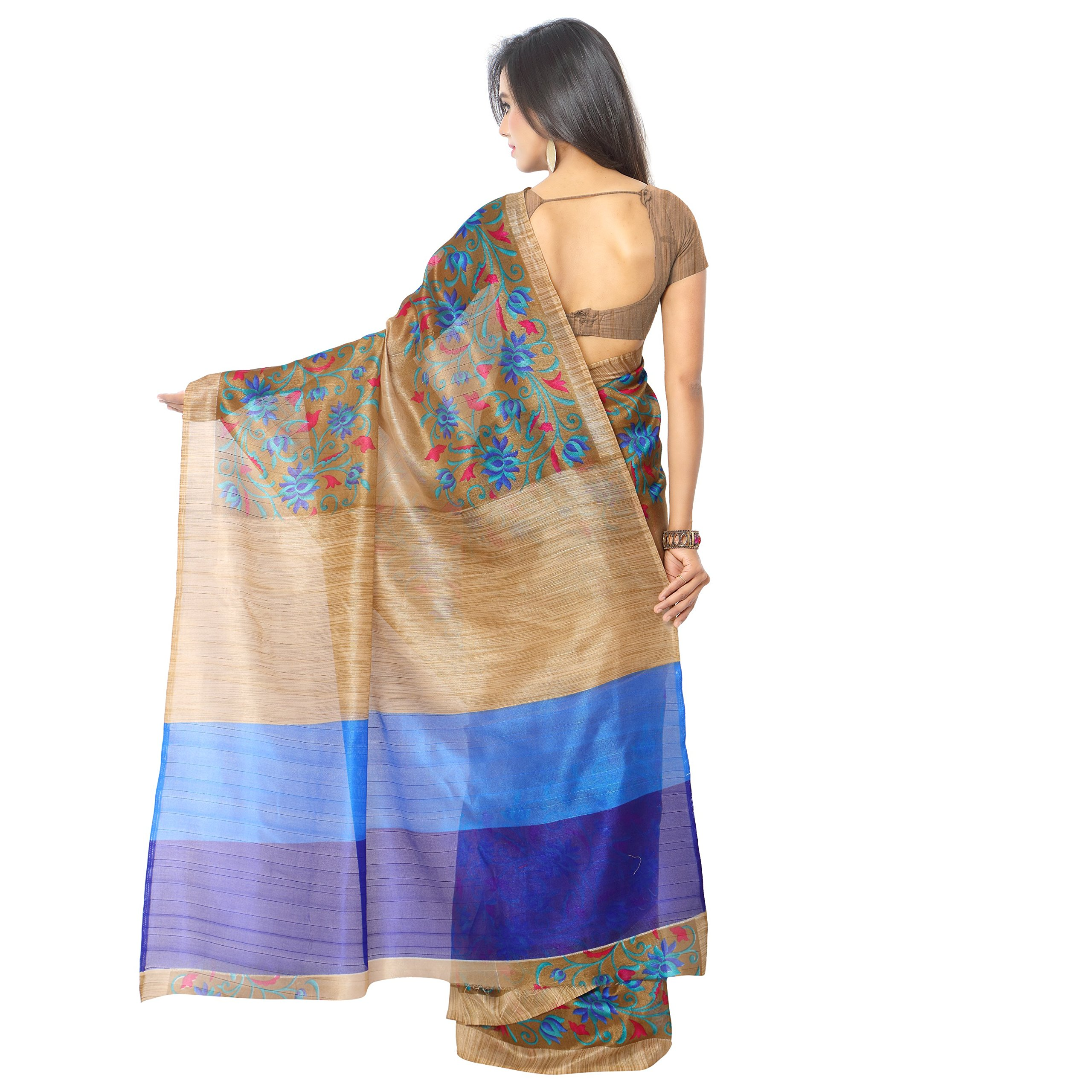 Jaanvi fashion Women's Raw Silk Saree Free Size Blue by Jaanvi fashion (Image #2)