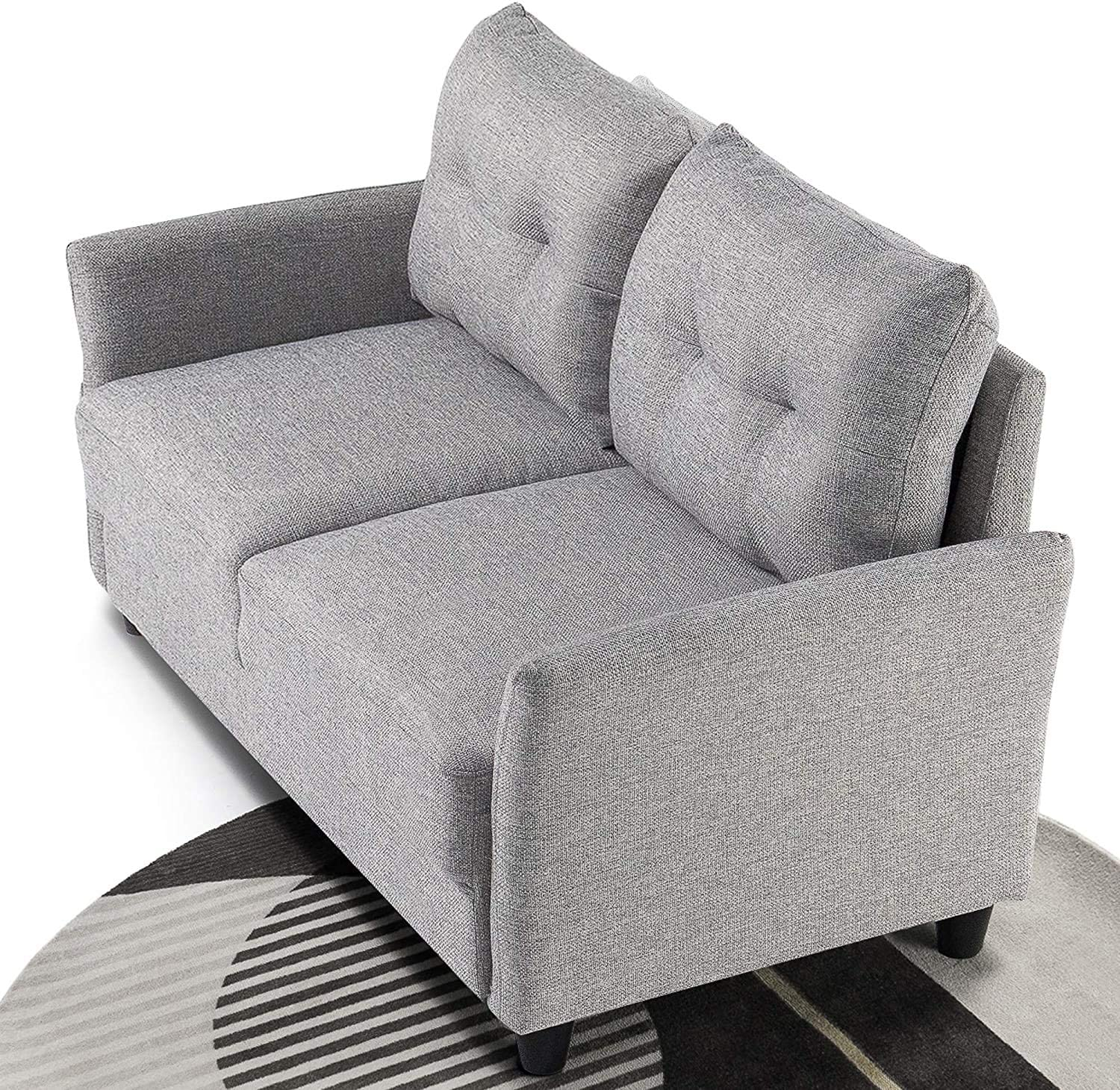 ZINUS Ricardo Loveseat Sofa / Tufted Cushions / Easy, Tool-Free Assembly, Soft Grey